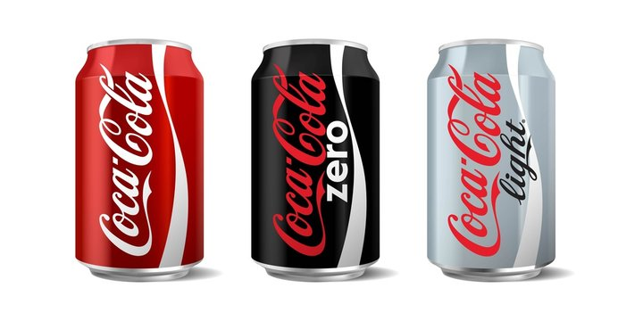 Vector illustration of coca-cola classic, zero and light can isolated on white background for editorial use. Coca-Cola Company is the most popular market leader in USA