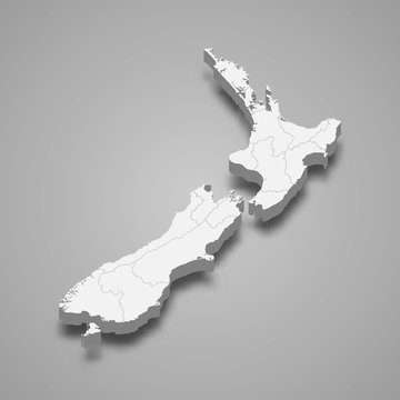 New Zealand 3d map with borders Template for your design