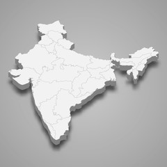 India 3d map with borders Template for your design