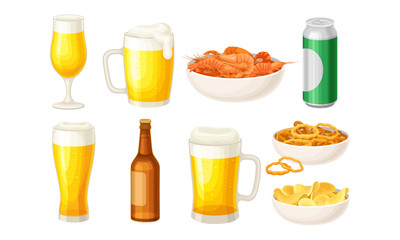 Beer Poured in Bottle and Mugs with Bowls of Shrimps and Potato Chips Vector Set