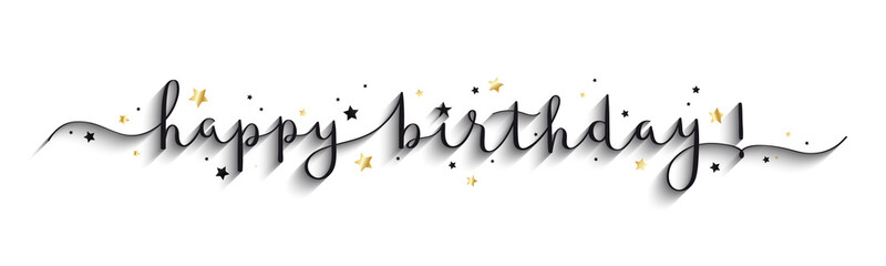 HAPPY BIRTHDAY! black and gold vector brush calligraphy banner with stars