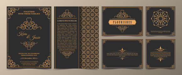 collection Invitation card vector design vintage style