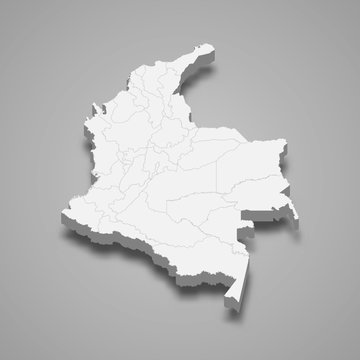 colombia 3d map with borders Template for your design