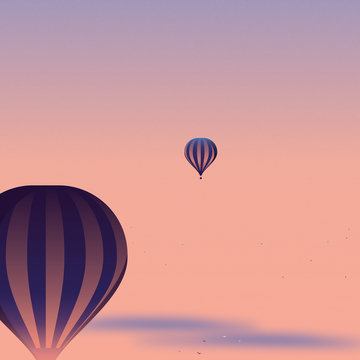 Two Hot Air Balloons Floating as if Social Distancing