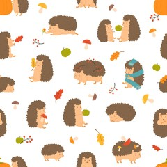 Cute cartoon funny hedgehogs seamless pattern vector flat illustration. Adorable wild animals sleep, carrying berries, playing surrounded by autumn leaves, apple and mushrooms on white background