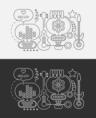 Line art designs isolated on a dark grey and on a white backgrounds Abstract Musical Art vector illustration.