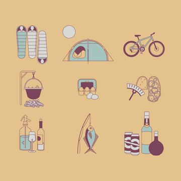 Camping trip icon pack