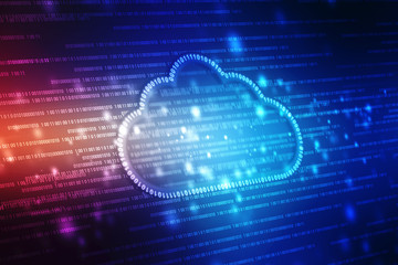 Digital illustration of  Cloud computing concept, Cloud internet technology concept background