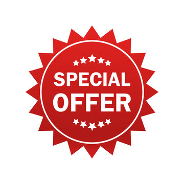 Special offer sticker in flat style on white background. Special offer sticker, great design for any purposes. Discount banner promotion template. Business icon. Flat vector.