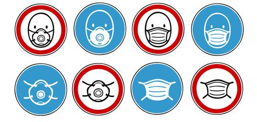 Viele Icons für Mundschutz und Maskenpflicht und Atemschutzmaske