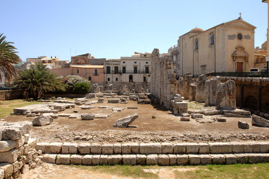 Italy  Sicily  Syracuse ,07/03/2007: Detail of the Temple of Apollo on the island of Ortigia in Syracuse