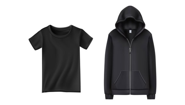 3d realistic vector black sport hoodie and t shirt. Vector illustration on white background.