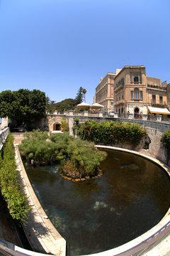 "Italy  Sicily  Syracuse , 07/03/2007: Aretusa Fountain ""Fonte Aretusa"" in Ortigia Island, is the oldest part of the city of Syracuse."