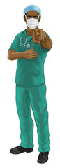 A doctor or nurse medical healthcare professional wearing scrubs uniform. Pointing at the viewer in a needs or wants you gesture with serious but caring look. Wearing PPE including face mask.