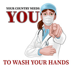 A woman doctor pointing in a your country needs or wants you gesture. With the message to wash your hands