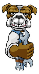 A bulldog cartoon animal mascot plumber, mechanic or handyman builder construction maintenance contractor peeking around a sign holding a spanner or wrench