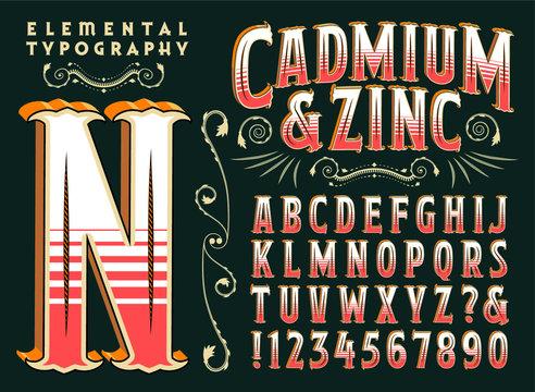 Cadmium & Zinc Antique Victorian Circus Style Alphabet