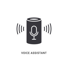 Voice assistant smart icon. Digital voice assistant speaker home vector icon, computer control device