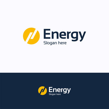 Energy logo. Lightning sun energy logo template. Circle logotype with letter h and n lines