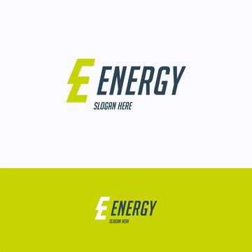 Energy logo. Lightning energy logo template. Letter green cog logotype with letter e