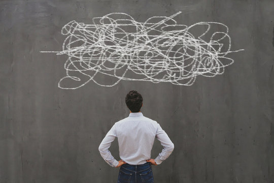 complexity concept, complex problem solution, business man thinking
