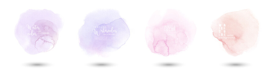 Fototapeta Trendy logo with hand-drawn pastel stains watercolor set obraz
