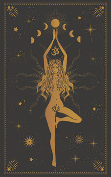 girl in a tree pose, mystic illustration with moon phases, tarot cards, yoga meditation