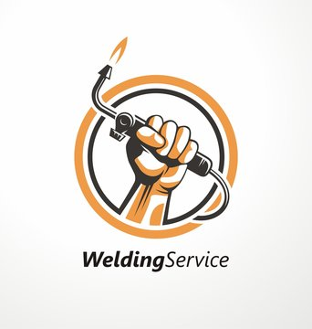Logo for welding industry with fist holding welding machine. Unique symbol idea for metal and construction business. Handcrafting and engineering vector icon.