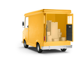 Truck delivery service and transportation. 3d illustration. Cartoon yellow car. Back view.