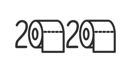 Quarantine 2020 with toilet paper. Coronavirus panic 2020 vector concept.