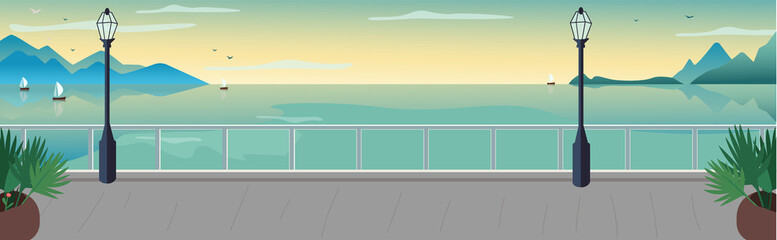 Seaside resort street flat color vector illustration. Waterfront terrace. Sea with sailing boat on horizon. Lake and mountains skyline. Seafront 2D cartoon landscape with ocean at sunset on background Wall mural