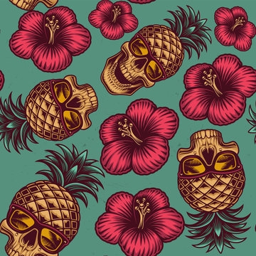 Seamless color pattern on the Hawaiian theme