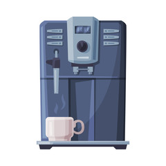 Coffee Machine and White Cup, Coffee Maker Household Kitchen Appliance Flat Style Vector Illustration on White Background.