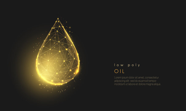 Abstract low poly falling golden oil drop.