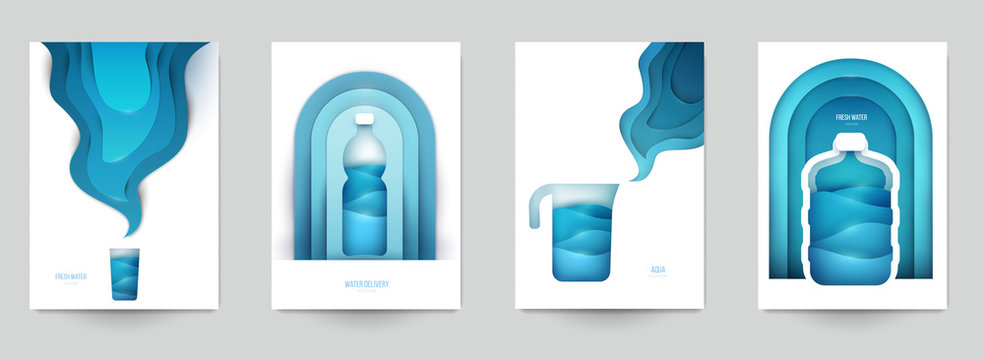 Collection templats cover for water. Abstract art composition in modern geometric papercut style. Minialistic concept design for branding banner, flyer, book, menu, card. Vector illustration.