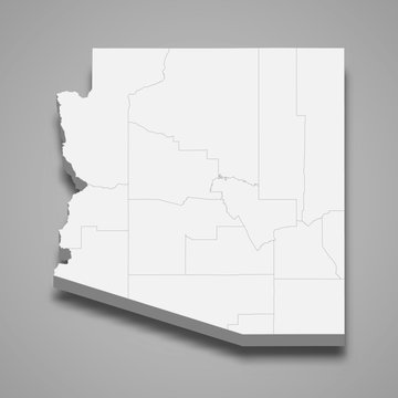 arizona 3d map state of United States Template for your design