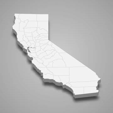 california 3d map state of United States Template for your design