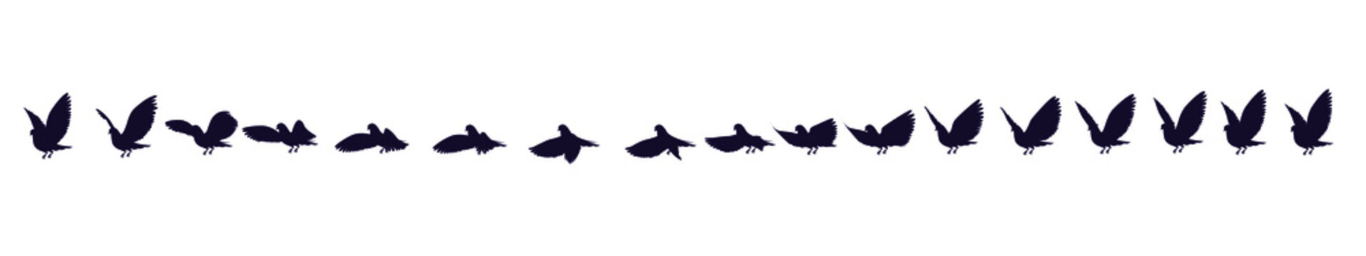 Full cycle animation of the black and white silhouette of a pigeon. Sprites for 2d animation.