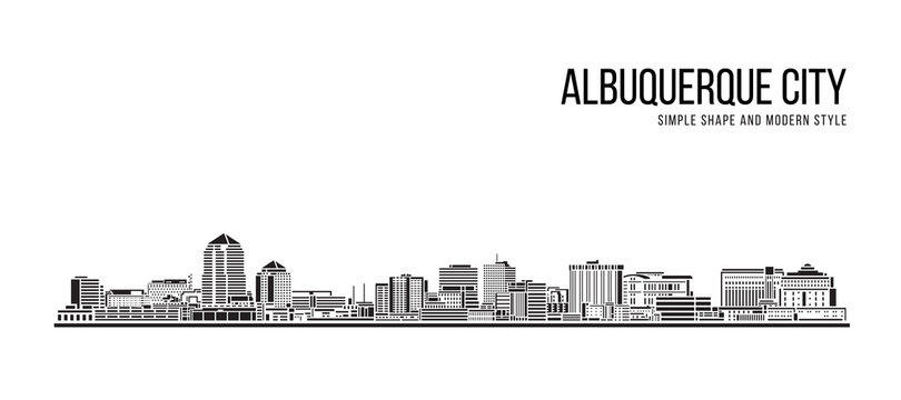 Cityscape Building Abstract Simple shape and modern style art Vector design - Albuquerque city