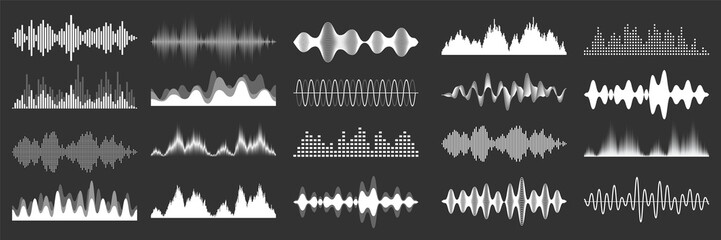 Sound waves collection. Analog and digital audio signal. Music equalizer. Interference voice recording. High frequency radio wave. Vector illustration.