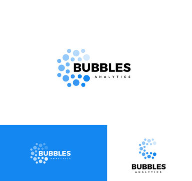 Bubbles logo set. Web analytics app logotype collection. Business report element, mind map application icon. Sparkling mineral water. Fizzy drink sign. Isolated car wash, laundry vector illustration.