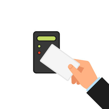 Access card control with cartoon hand. Clipart image isolated on white background
