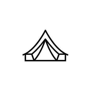 Bell tent outline icon. Clipart image isolated on white background