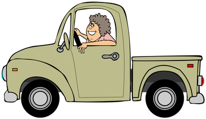 Woman driving a yellow pickup truck