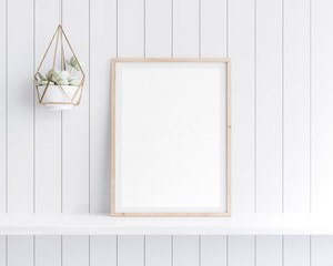 Mockup poster frame close up in coastal style interior on white shelf. 3D render