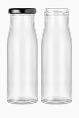 two High shape  Empty glass bottle jar with a black lid and without lid  For food preservation or containing liquid Shot from the front view on isolated white background with clipping paths