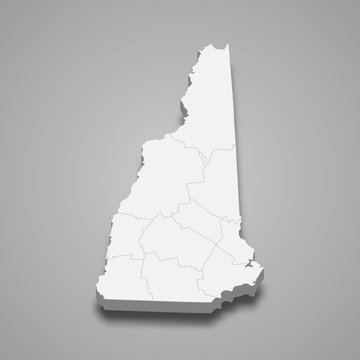 New Hampshire 3d map state of United States Template for your design