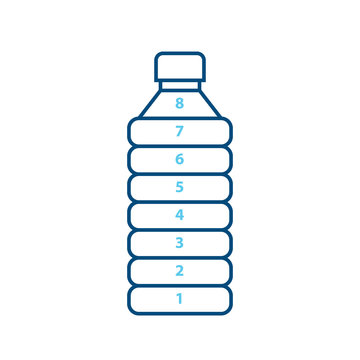 Water bottle goal tracker 1-8. Clipart image isolated on white background