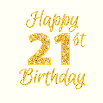 Happy birthday 21st glitter greeting card. Clipart image isolated on white background