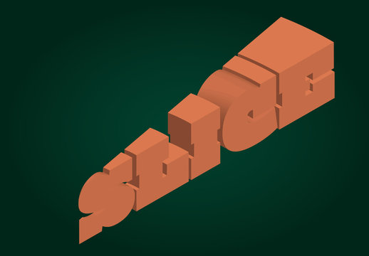 3D Wedge Text Effect